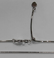 14kt 14K White Solid Gold 1mm Box Necklace Chain Lobster Adjustable up to 22""