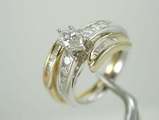 2832 Engagement & Wedding Band Rings 1.20 ctw Diamond 14K White & Yellow Gold 7