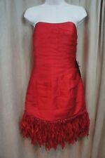 JS Collections Dress Sz 4 Red Strapless Fringed Beaded Bottom Cocktail Party
