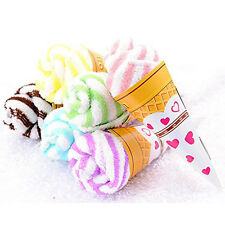 Lovely Double Color Soft Washing Towel Ice Cream Shaped Gift Fantastic New