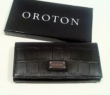 New OROTON Wallet Kiera Croc Large Clutch Purse Black Leather Box RRP$295