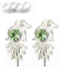 NEU 925 Silber OHRSTECKER Vögel SWAROVSKI STEINE peridot/grün OHRRINGE Vogel