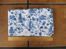 Fabric 4 yard Asian Lady Playing Flute Making Tea House Garden Blue White Cotton
