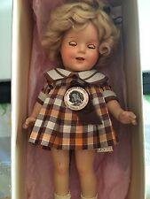 "Vintage SHIRLEY TEMPLE 13"" IDEAL COMPOSITION DOLL 2013 Brown, ORIGINAL Box, pin"