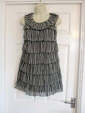 tiered black white stripped mini dress Fits Size 8 Womens Summer Evening Party
