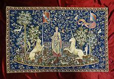 Wandteppich aus Italy Gobelin La dama e unicorno Gusto Arazzo Tapisserie BLAU