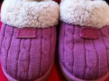 UGG Australia Cozy Knit Heather Grey Sheepskin Scuff Slippers Womens Shoes~Sz 2