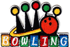 """BOWLING"" w/Bowling  Ball-Iron On Embroidered Applique /Bowling, Games,Fun"