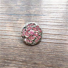 New Pink Rhinestone Roses Charm Chunk Snap Button fit for Noosa Leather Bracelet