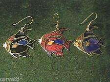 Cloisonne Enamel Angel Fish Gold Tone Earrings (1 pair)