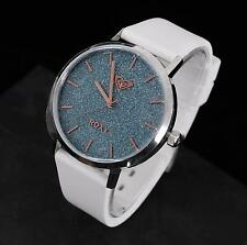 Roxy The Royal White Silicone Rose-Gold Blue Sparkling Dial Watch RX/1008BLSV