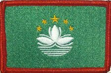 MACAU Flag Embroidered Iron-On Patch Military Shoulder Emblem Red Border #053