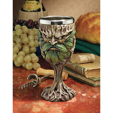 Whimsical Master of the Green Medieval Wine Goblet Greenman Gothic Drinkware