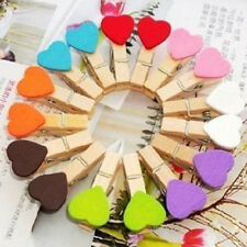 10 pink Hearts Wooden Pegs Photo Clips Wedding Party Venue Decoration he