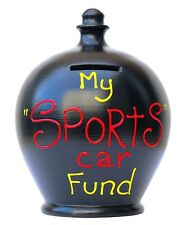 Terramundi Money Pot Black With My Sports Car Fund In Yellow And Red Saving Gift