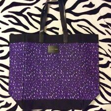 VICTORIAS SECRET PURPLE LEOPARD PRINT CANVAS TOTE BAG Travel Gym Beach Bag NWT