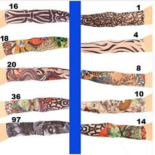 1pair Cool Multi colors Superfine fiber elastic Fake tattoo sleeve Arm stockings