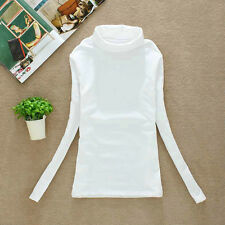 Women's Ladies Plain Shirts Polo Turtle Roll Neck Tunic Top Jumper Full Sleeve