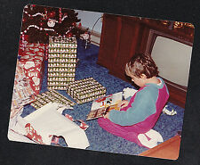 Vintage Photograph Little Boy on Floor by Retro Television Set w/Christmas Gifts
