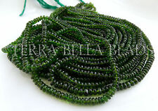 "7"" strand rare CHROME DIOPSIDE smooth gem stone rondelle beads 3mm - 4mm green"