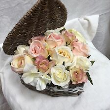 Artificial Silk Flowers Shabby Chic Heart Box Pinks Creams Roses Arrangement
