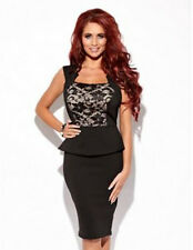 Amy childs Lipsy noir moulante dentelle peplum taille 14 dress party cocktail wiggle