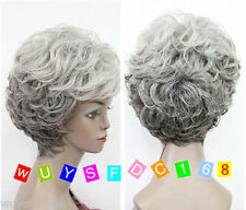 New!! Old Women Lady MIXED Grey Curly full Wigs + wig cap