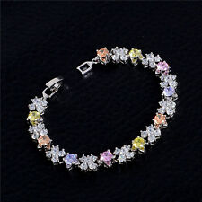 Lady Jewelry Colorful Cubic Zirconia Chain Bracelet Charm Bangle Sale