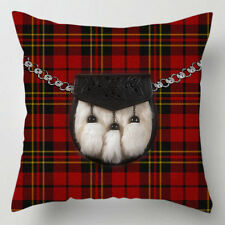 Scottish red tartan kilt sporran picture quirky decor cushion / pillow