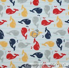 BonEful Fabric FQ Flannel Cotton Quilt White Red Blue Yellow Whale Dot Stripe Sm