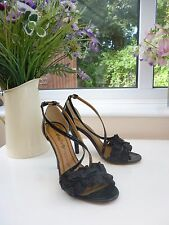 GORGEOUS MISS SIXTY MADE IN ITALY FRILLED BLACK PATENT LEATHER HEELS Sz 37 UK 4