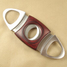 STAINLESS STEEL & RED WOOD DUAL BLADE CIGAR CUTTER CLIPPER SMOKER GIFT ACCESSORY