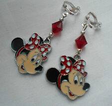 Handmade clip on girly earrings Disney Minnie Mouse red silver plated
