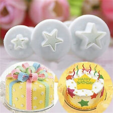3PCS Star Cake Cookies Cutter Plunger Sugarcraft Decorating Fondant Mold Set FT