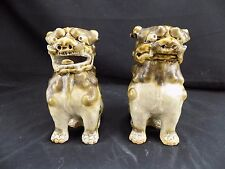 Pair Shishi Dogs-Foo Dogs-Guardian Lions-Japanese Vintage Okinawa 1963 Green
