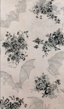 'ANGELA'S ATTIC' BATS & FLOWERS HALLOWEEN ON GREY FABRIC - A. HENRY