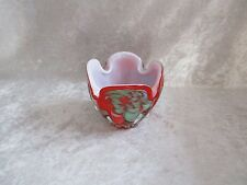 Murano Red and Green Art Glass Open Bowl