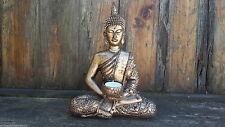 Large Meditating Thai Buddha Statue Tealight Holder Bronze Gold Ornament 27cm