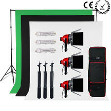 2400W Video Red Head Continuous Lighting Kit Dimmer Chromakey Backdrop Stand Set