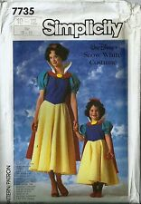 Simplicity Costume Pattern 7735 Walt Disney's Snow White Child's Size 10-12 NEW
