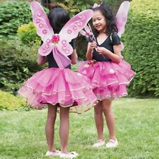 Girls Butterfly Sugar Plum Fairy Princess Wings Wand & Tutu Fancy Dress Costume
