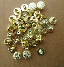 "20 Pack Fancy Floral Brass Chicago Screws 1/4"" Belts Bridles Leather Craft NEW"