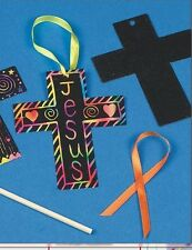 "2 Cross Scratch Art Ornament 3"" x 4"" "" in size Great FUN! Christian Craft"