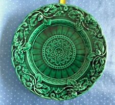 "Sarreguemines Majolica 8 1/2 "" Green plate in strawberry vine motif marked 3"