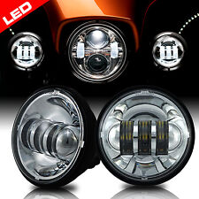 "2x 4-1/2"" Chrome LED Auxiliary Spot Fog Passing Light Lamp For Harley Motorcycle"