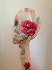 Swan neck mannequin head hand decoupaged patchwork floral. Hat, wig display.