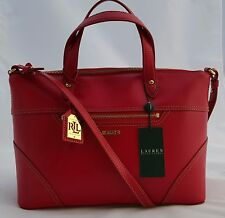 NEW Ralph Lauren Authentic Red Leather Shopper Tote Satchel Handbag Purse NWT
