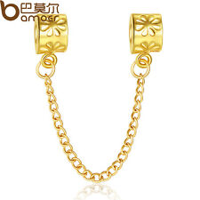 Love Gold safety chains charms beads Fit 925 European Bracelet/Neckla​ce Chain