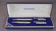 Sheaffer White DotTarga Ball Pen+Pencil Set --Bright Chrome
