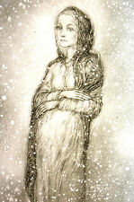 Sulamith Wulfing 1960 PREGNANT GIRL in SNOW STORM Matted Art Ready to Frame